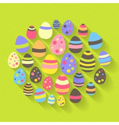 Easter eggs icon set on a green vector