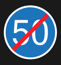 End minimum speed sign 50 flat icon vector