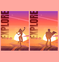explore posters with people in desert vector image
