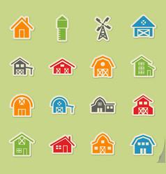 farm building icon set vector image