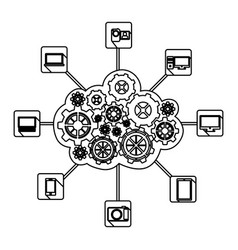 figure gears technological communications icon vector image