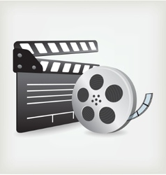 Film Slate with Movie Film vector image