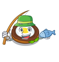 fishing egg scotch on character wood boards vector image