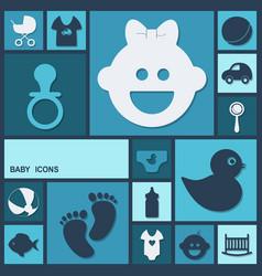 Flat concept set modern design baby vector