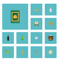 flat icons arabian dromedary arabic calligraphy vector image
