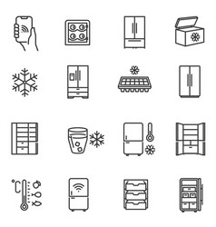 freezer cooler fridge thin line icons set vector image