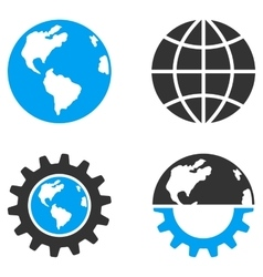 Global Industry Flat Bicolor Icons vector image