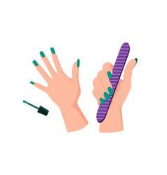 Green manicure on female hands with nail file vector