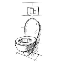 Hand drawing toilet bowl in bathroom vector