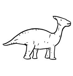 hand drawn doodle parasaurolophus vector image