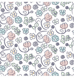 hand drawn flower seamless pattern vector image vector image
