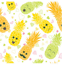 happy pineapple faces seamless repeat pattern vector image