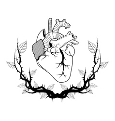 Heart with branches tattoo art design vector