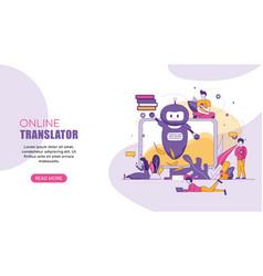 horizontal flat banner online translator chatbot vector image