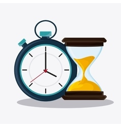 Hourglass and chronometer time design vector
