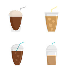 Ice coffee cream cold cup icons set flat style vector