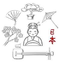 Japanese travel and cultural sketch icons vector