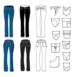 jeans woman vector image
