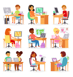 kids computer child studying lesson on vector image