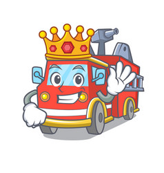 king fire truck mascot cartoon vector image