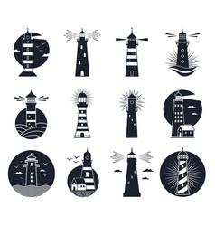 lighthouse labels vintage beacon building emblems vector image
