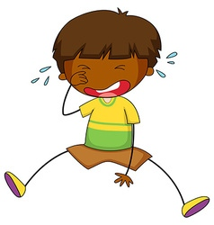 Little boy crying alone vector