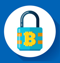 lock with bitcoin symbol icon cryptocurrency vector image