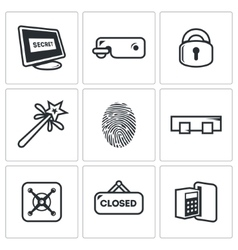 Locking icons set vector