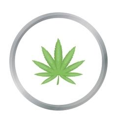 Marijuana leaf icon in cartoon style isolated on vector
