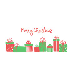 Merry christmas greeting card with cute hand drawn vector