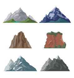 Mountains and cliffs in set vector