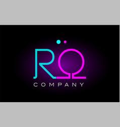 Neon lights alphabet ro r o letter logo icon vector