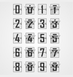numbers from mechanical scoreboard alphabet vector image