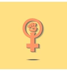 Orange feminism sign vector