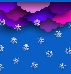 paper bright clouds on blue winter sky with paper vector image