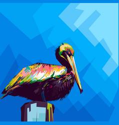 pelican in pop art vector image