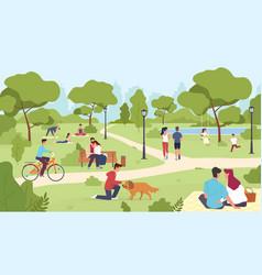 people in park happy men and women vector image