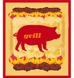 Pig Grunge poster - Grill Menu Card Design vector