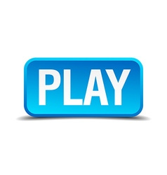 Play blue 3d realistic square isolated button vector