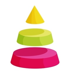Pyramid divided into three segment layers icon vector