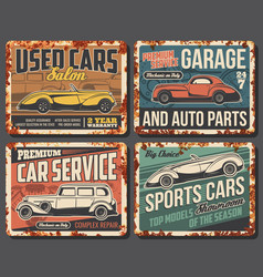 rare cars and vehicles rusty metal plates vector image