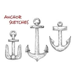 Retro sea anchors sketches set vector image