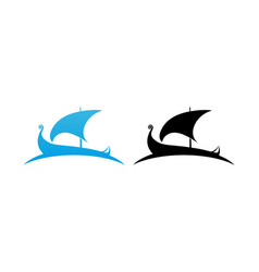 Scandinavian drakkar longship logo vector
