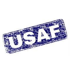 Scratched usaf framed rounded rectangle stamp vector