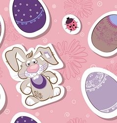 Seamless Easter Egg and Bunny Pattern vector