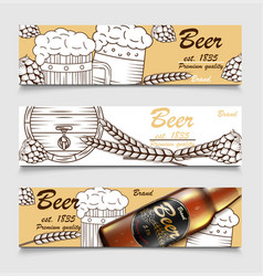 set cartoon banners with beer glasses bottle vector image