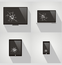 set of broken screen of smart phone computer vector image
