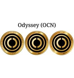 Set of physical golden coin odyssey ocn vector