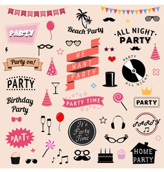 Set party icons signs and symbols vector