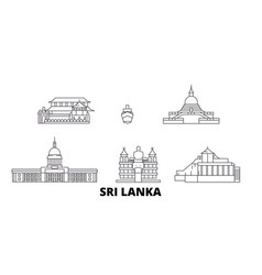 sri lanka line travel skyline set sri lanka vector image